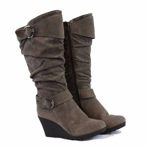 Gray Wedge Tall Heel Mid Calf Slouchy Boots NEW